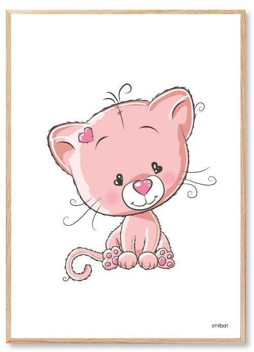 Barnposters Cat Rosa Barntavlor