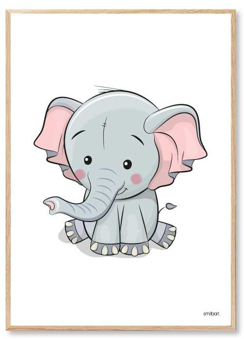Barnposters Elefant Barntavlor