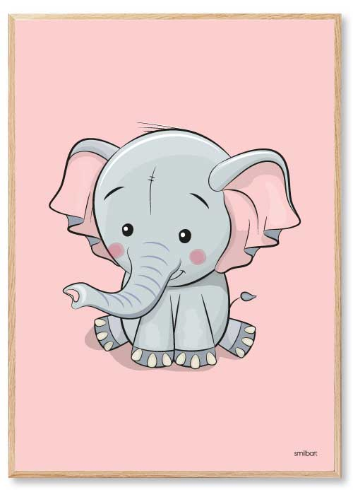 Barnposters Elefant Rosa Barntavlor