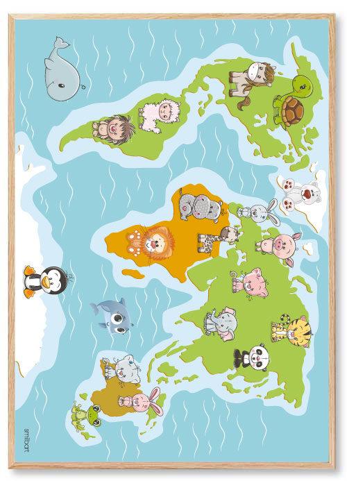 Barnposters-Världskartan-Barn